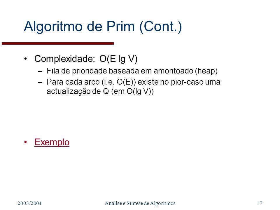 2003/2004Análise e Síntese de Algoritmos17 Algoritmo de Prim (Cont.) Complexidade: O(E lg V) –Fila de prioridade baseada em amontoado (heap) –Para cad