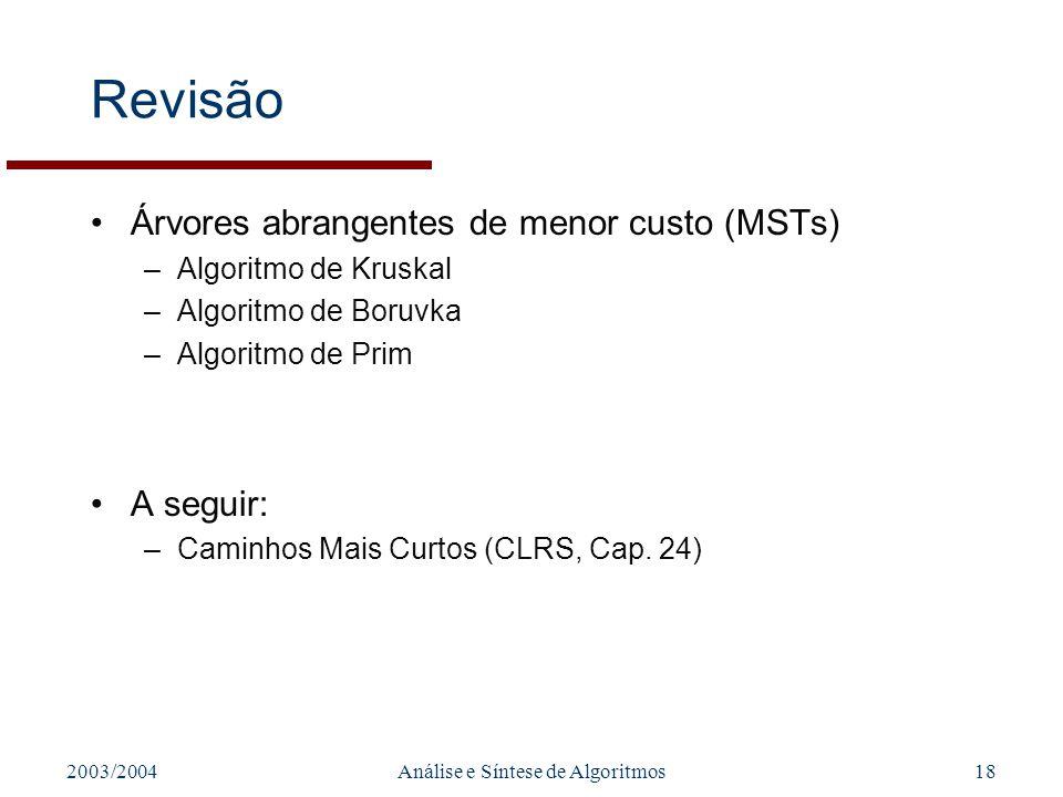 2003/2004Análise e Síntese de Algoritmos18 Revisão Árvores abrangentes de menor custo (MSTs) –Algoritmo de Kruskal –Algoritmo de Boruvka –Algoritmo de