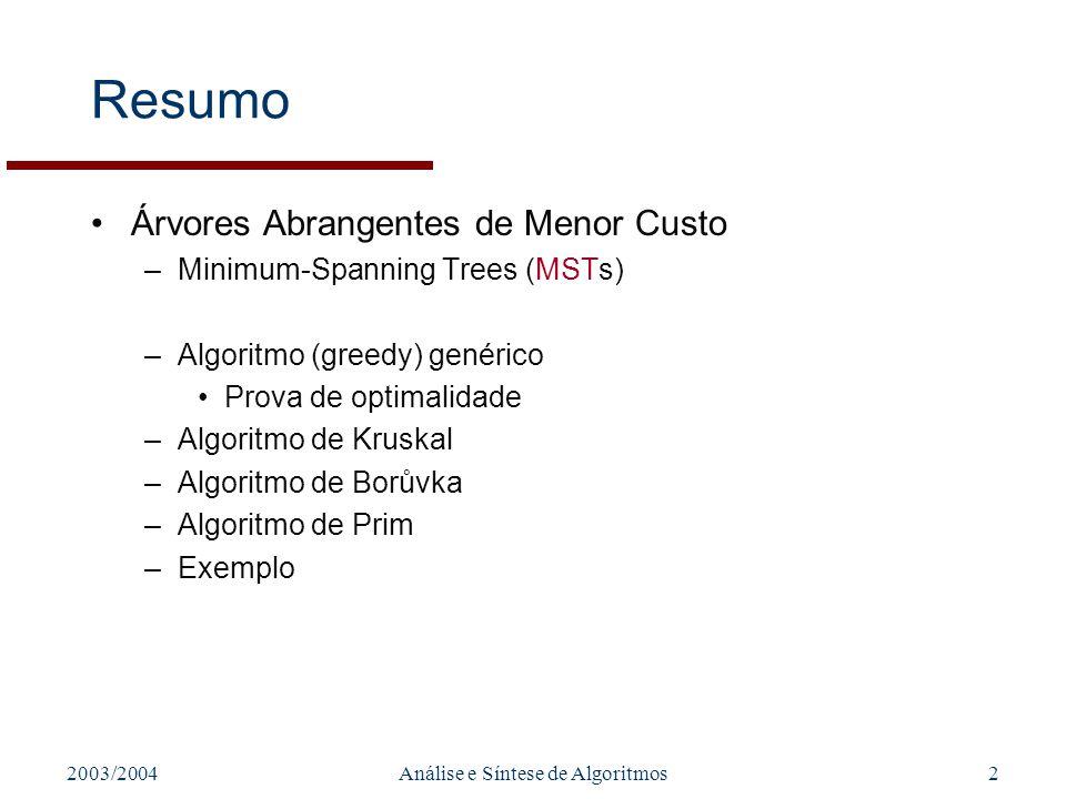 2003/2004Análise e Síntese de Algoritmos13 Algoritmo de Borůvka Começar com um N conjuntos de vértices (N árvores) –Noção de arco marcado A cada passo do algoritmo, –Para cada árvore T seleccionar arco de menor peso incidente em T marcar arco seleccionado (passa a estar incluído em T) –arco pode ser duplamente seleccionado –Juntar em árvores individuais árvores ligadas por arcos marcados Algoritmo termina quando existir apenas uma árvore Algoritmo correcto apenas se pesos com valores distintos –Escolha de dois arcos de peso igual que ligam duas árvores .