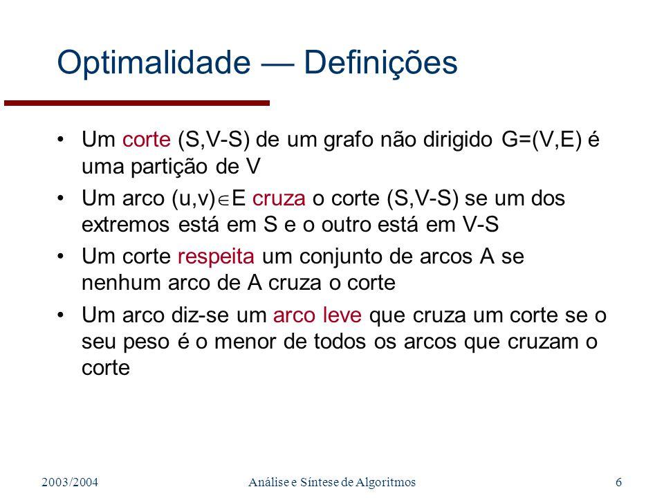 2003/2004Análise e Síntese de Algoritmos6 Optimalidade Definições Um corte (S,V-S) de um grafo não dirigido G=(V,E) é uma partição de V Um arco (u,v)