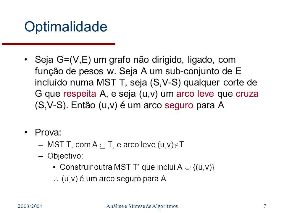2003/2004Análise e Síntese de Algoritmos7 Optimalidade Seja G=(V,E) um grafo não dirigido, ligado, com função de pesos w. Seja A um sub-conjunto de E