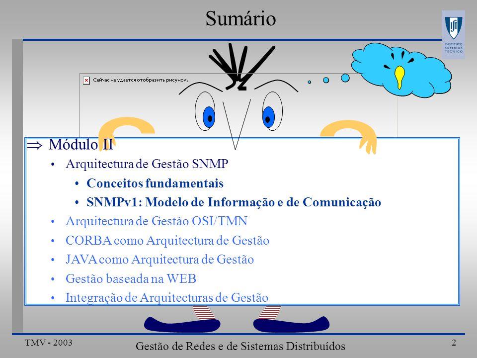 TMV - 2003 Gestão de Redes e de Sistemas Distribuídos 33 Definição SNMP (RFC 1157) (3) VarBind ::= SEQUENCE { name ObjectName, value ObjectSyntax } VarBindList ::= SEQUENCE OF VarBind END Arquitectura de Gestão Internet-SNMPv1