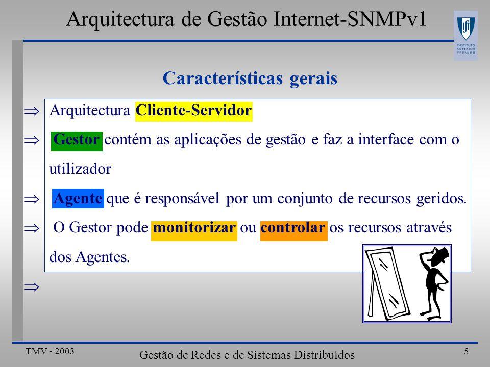 TMV - 2003 Gestão de Redes e de Sistemas Distribuídos 5 Arquitectura de Gestão Internet-SNMPv1 Arquitectura Cliente-Servidor Gestor contém as aplicações de gestão e faz a interface com o utilizador Agente que é responsável por um conjunto de recursos geridos.
