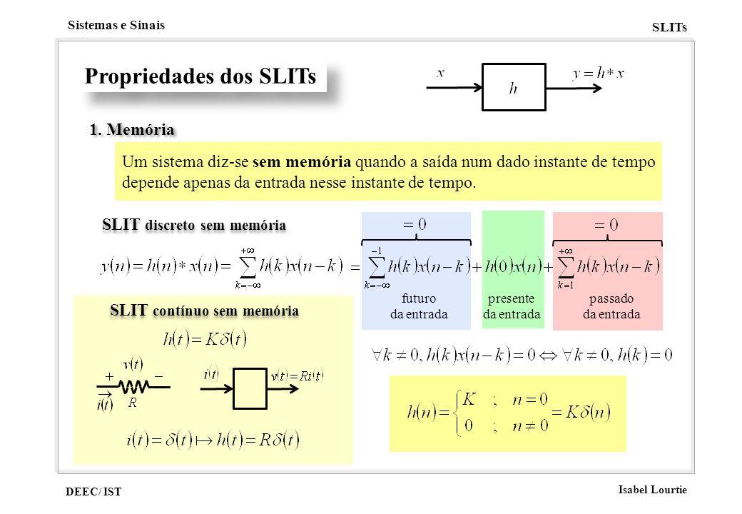 DEEC/ IST Isabel Lourtie Sistemas e Sinais SLITs presente da entrada passado da entrada futuro da entrada Propriedades dos SLITs 1. Memória Um sistema