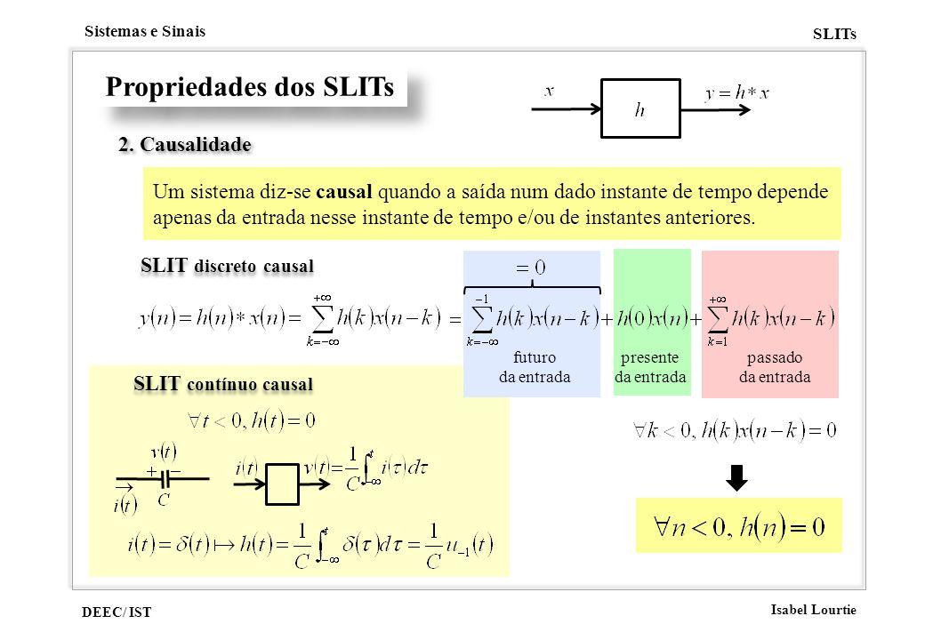 DEEC/ IST Isabel Lourtie Sistemas e Sinais SLITs Propriedades dos SLITs SLIT contínuo causal 2. Causalidade Um sistema diz-se causal quando a saída nu