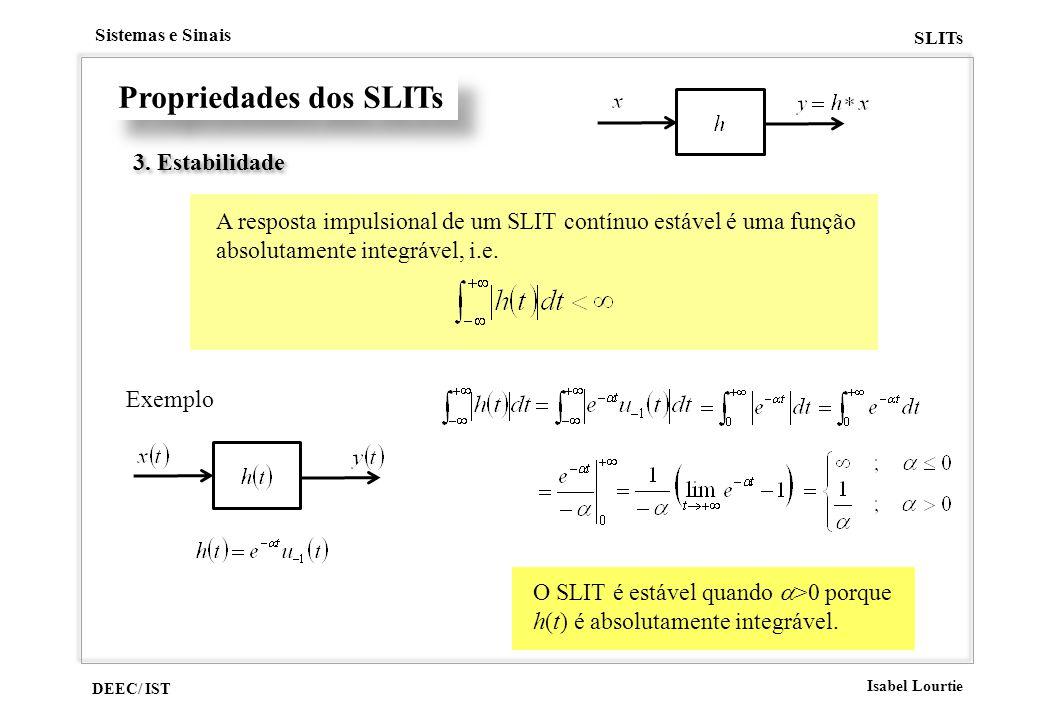 DEEC/ IST Isabel Lourtie Sistemas e Sinais SLITs Propriedades dos SLITs 3. Estabilidade A resposta impulsional de um SLIT contínuo estável é uma funçã