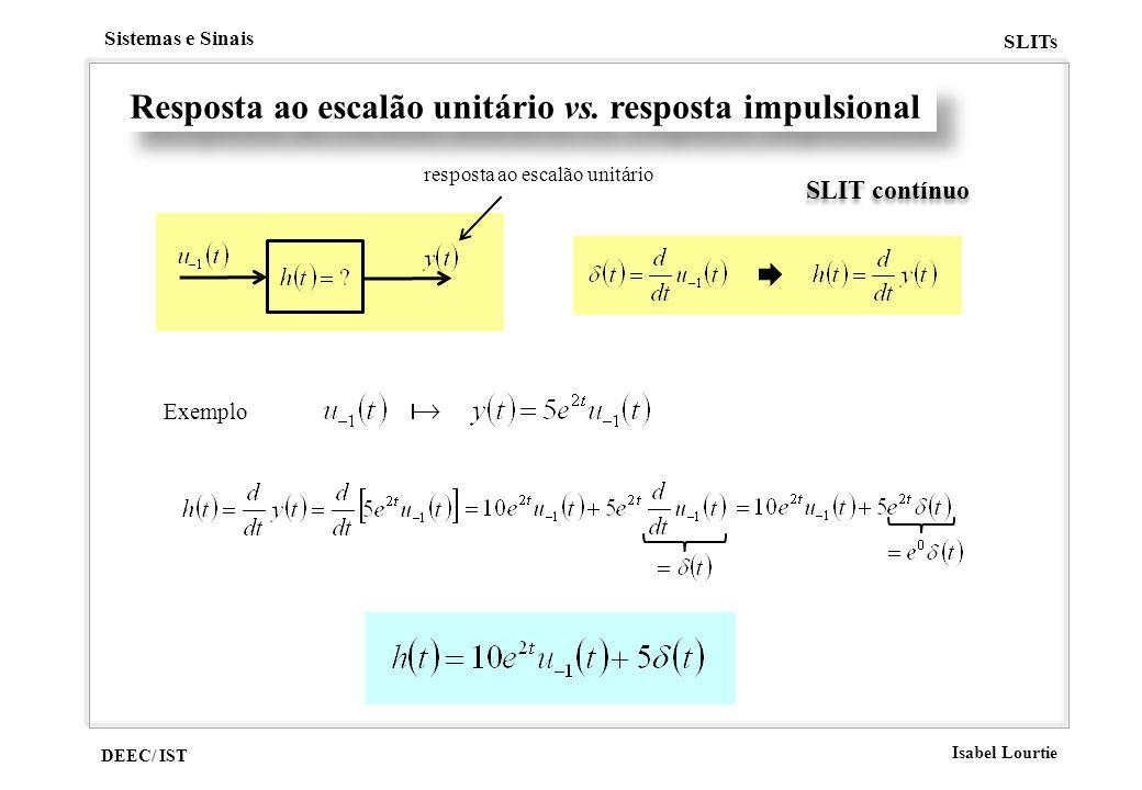 DEEC/ IST Isabel Lourtie Sistemas e Sinais SLITs Resposta ao escalão unitário vs. resposta impulsional SLIT contínuo resposta ao escalão unitário Exem