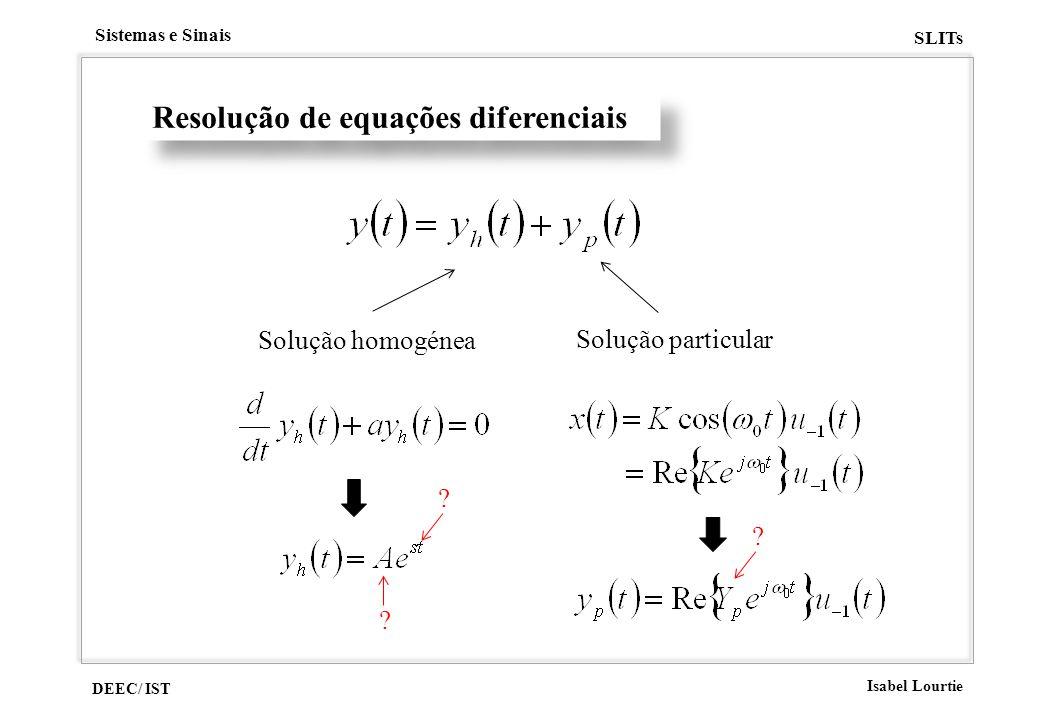 DEEC/ IST Isabel Lourtie Sistemas e Sinais SLITs Resolução de equações diferenciais Solução homogénea Solução particular ? ? ?