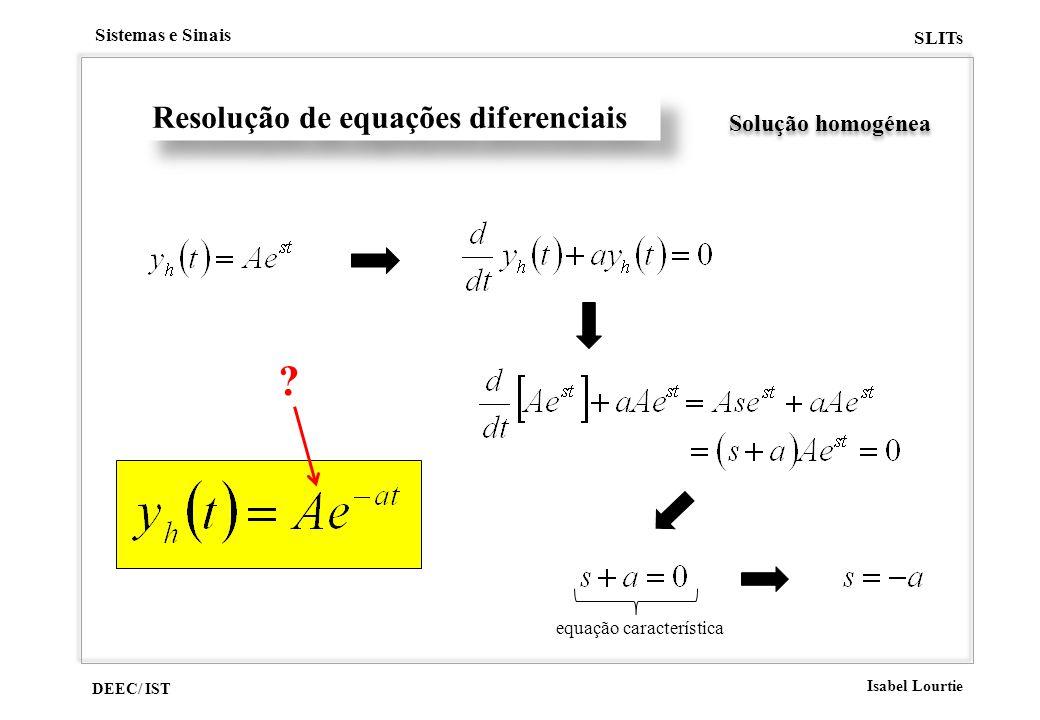 DEEC/ IST Isabel Lourtie Sistemas e Sinais SLITs Resolução de equações diferenciais Solução homogénea ? equação característica