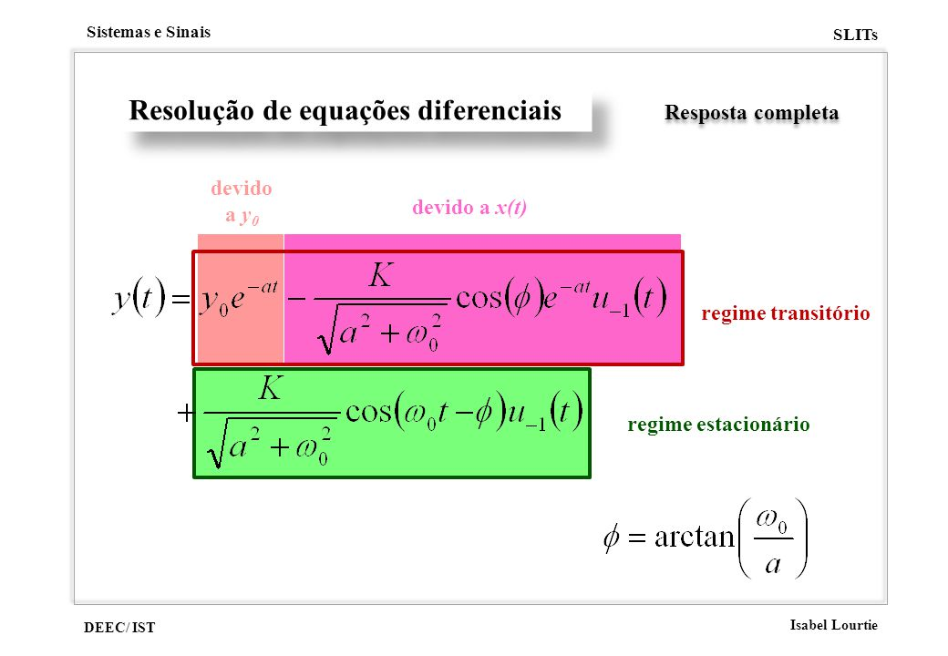 DEEC/ IST Isabel Lourtie Sistemas e Sinais SLITs regime estacionário devido a x(t) devido a y 0 Resolução de equações diferenciais Resposta completa r