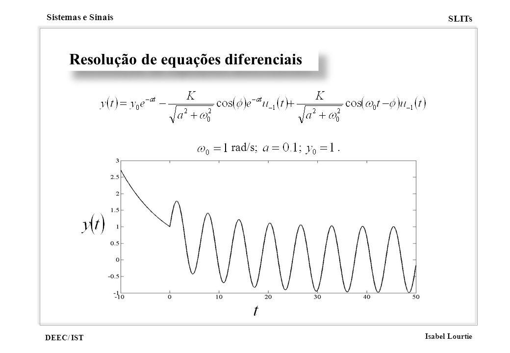 DEEC/ IST Isabel Lourtie Sistemas e Sinais SLITs Resolução de equações diferenciais rad/s; ;.