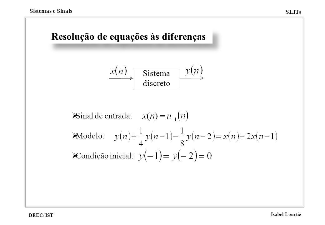 DEEC/ IST Isabel Lourtie Sistemas e Sinais SLITs Resolução de equações às diferenças Sistema discreto Sinal de entrada: Modelo: Condição inicial: