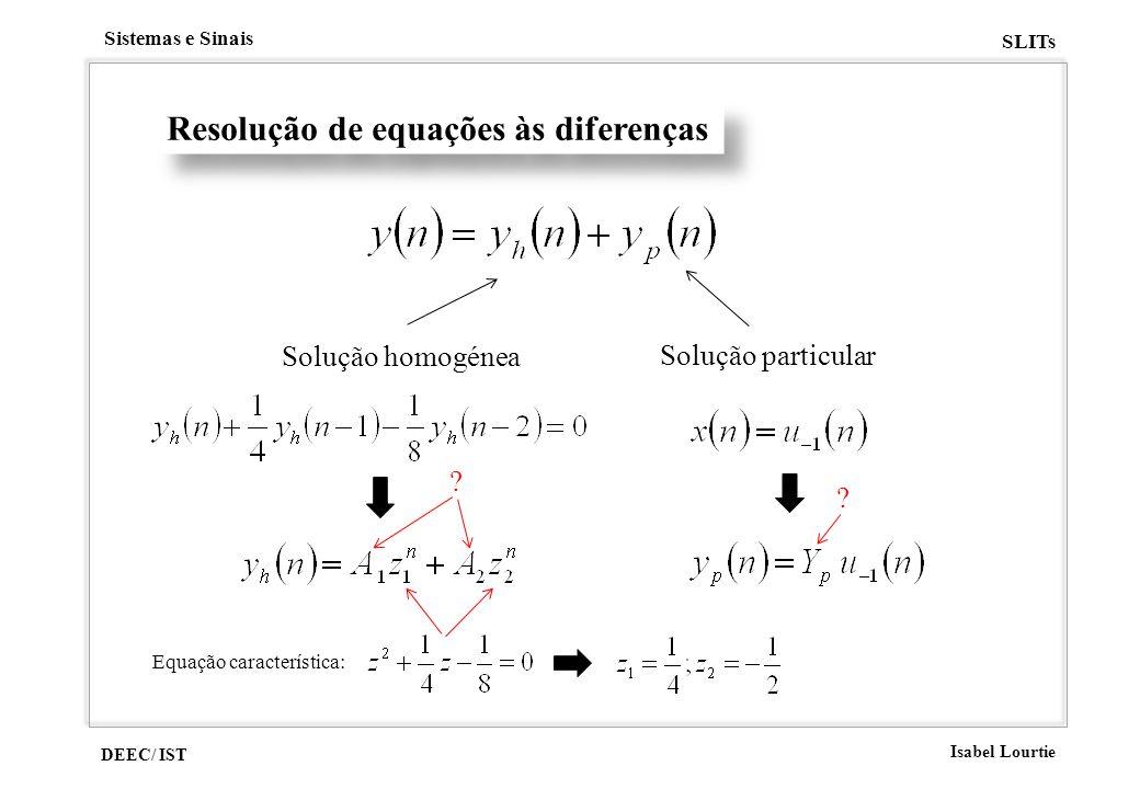 DEEC/ IST Isabel Lourtie Sistemas e Sinais SLITs Resolução de equações às diferenças Solução homogénea Solução particular ? ? Equação característica: