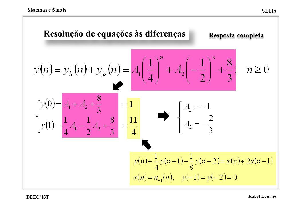 DEEC/ IST Isabel Lourtie Sistemas e Sinais SLITs Resolução de equações às diferenças Resposta completa