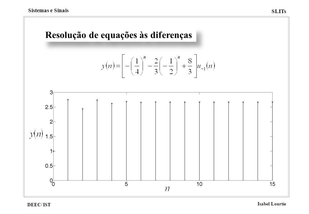 DEEC/ IST Isabel Lourtie Sistemas e Sinais SLITs Resolução de equações às diferenças