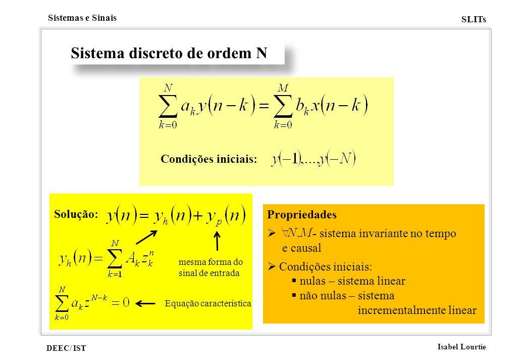 DEEC/ IST Isabel Lourtie Sistemas e Sinais SLITs Sistema discreto de ordem N Condições iniciais: Propriedades - sistema invariante no tempo e causal C