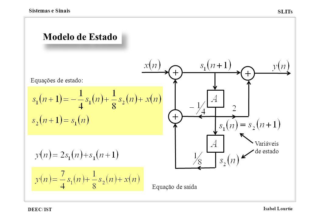 DEEC/ IST Isabel Lourtie Sistemas e Sinais SLITs Equações de estado: Modelo de Estado Variáveis de estado Equação de saída