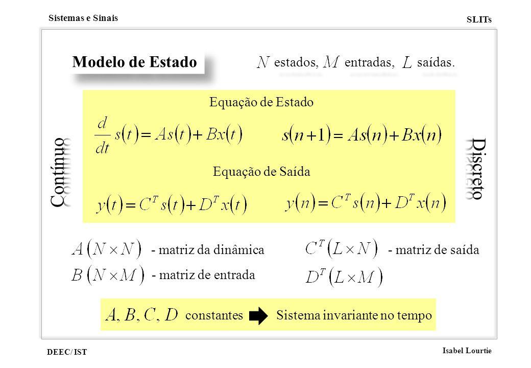 DEEC/ IST Isabel Lourtie Sistemas e Sinais SLITs Modelo de Estado Equação de Estado Equação de Saída - matriz da dinâmica - matriz de entrada - matriz