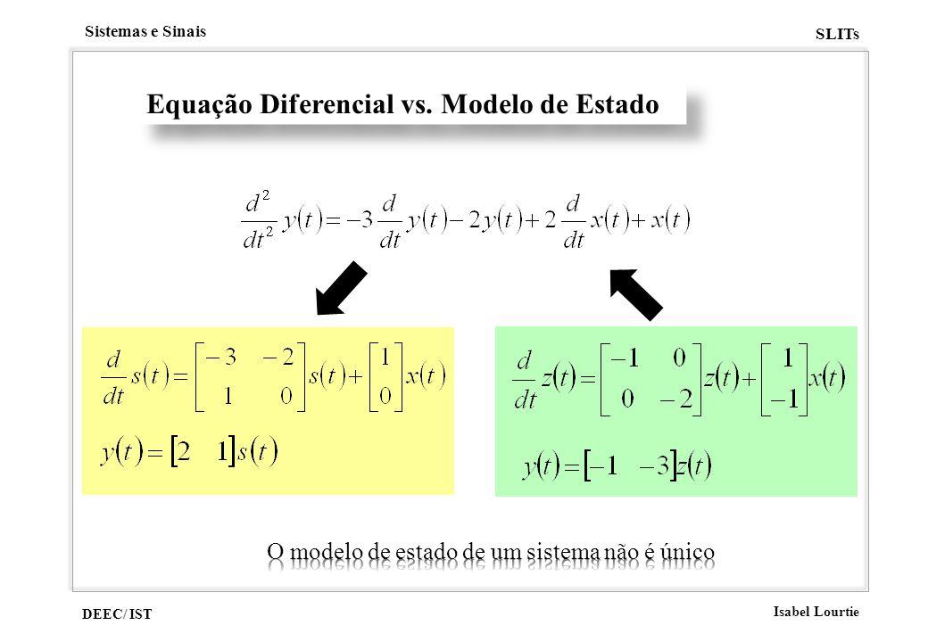 DEEC/ IST Isabel Lourtie Sistemas e Sinais SLITs Equação Diferencial vs. Modelo de Estado