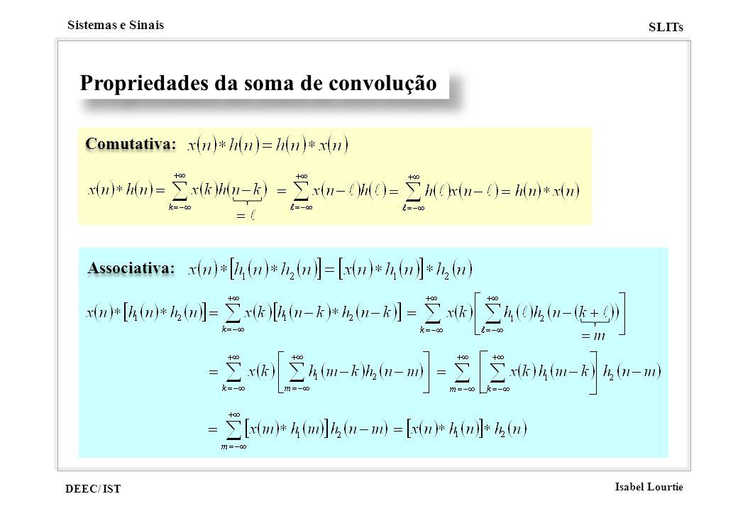 DEEC/ IST Isabel Lourtie Sistemas e Sinais SLITs Propriedades da soma de convolução Comutativa: Associativa: