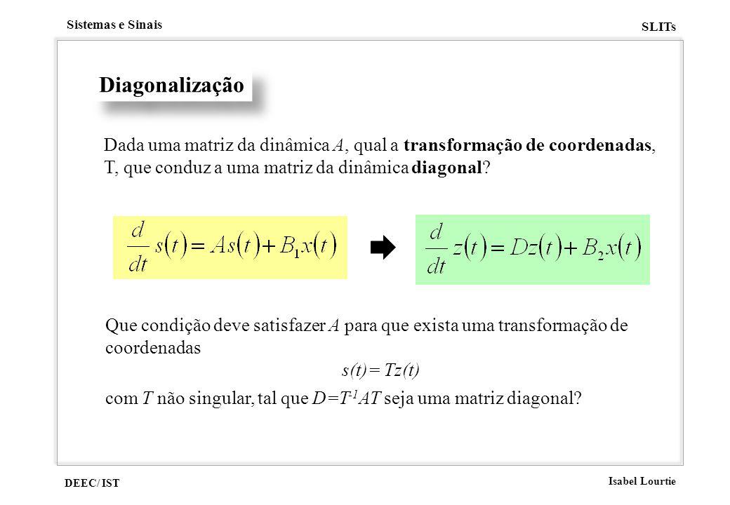 DEEC/ IST Isabel Lourtie Sistemas e Sinais SLITs Diagonalização Dada uma matriz da dinâmica A, qual a transformação de coordenadas, T, que conduz a um