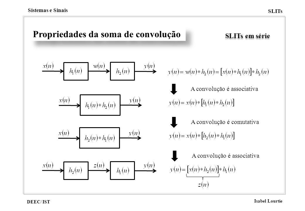DEEC/ IST Isabel Lourtie Sistemas e Sinais SLITs Propriedades da soma de convolução SLITs em série A convolução é associativa A convolução é comutativ