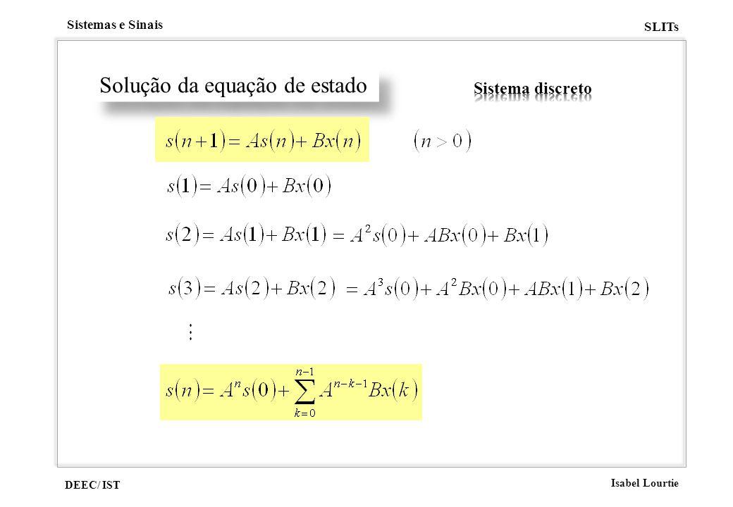 DEEC/ IST Isabel Lourtie Sistemas e Sinais SLITs Solução da equação de estado