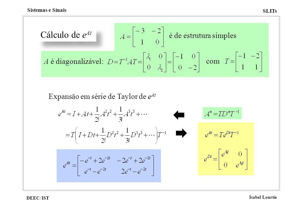 DEEC/ IST Isabel Lourtie Sistemas e Sinais SLITs Cálculo de e At é de estrutura simples A é diagonalizável: com Expansão em série de Taylor de e At