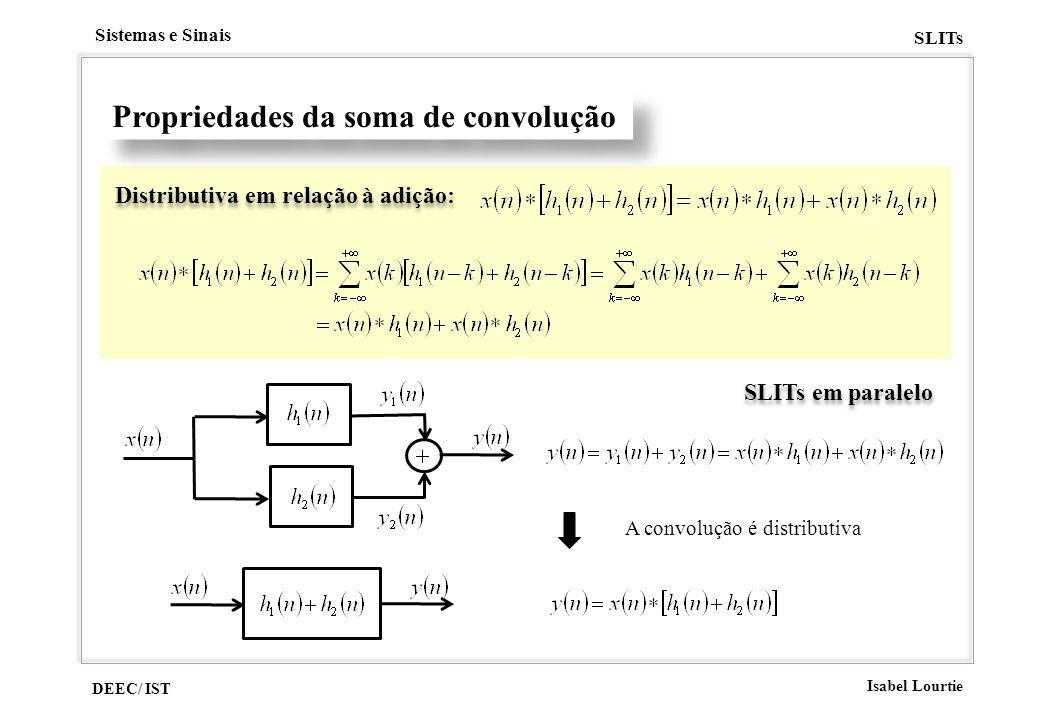 DEEC/ IST Isabel Lourtie Sistemas e Sinais SLITs Propriedades da soma de convolução Distributiva em relação à adição: SLITs em paralelo A convolução é