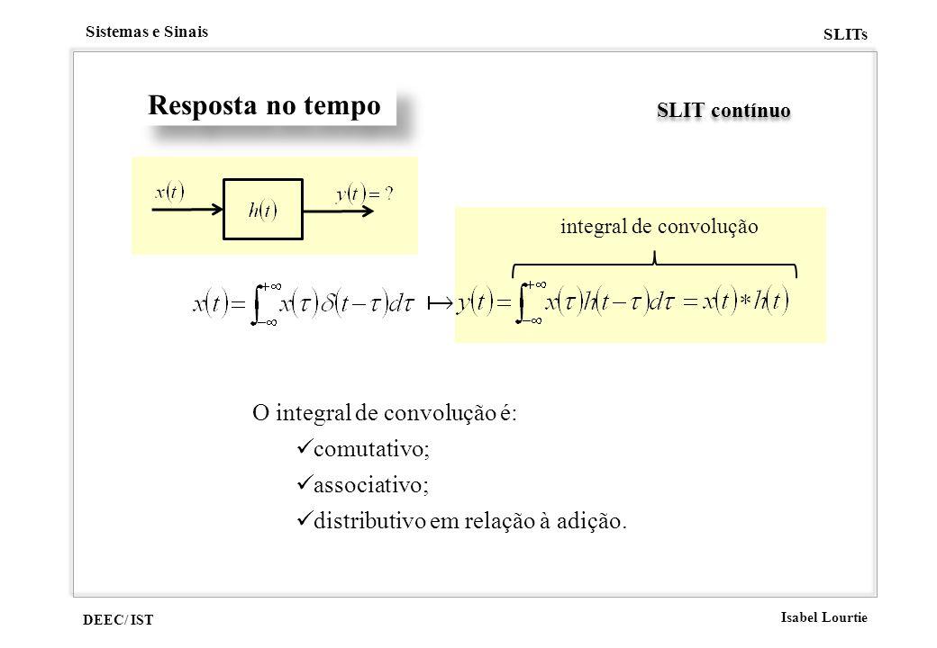 DEEC/ IST Isabel Lourtie Sistemas e Sinais SLITs Resposta no tempo SLIT contínuo integral de convolução O integral de convolução é: comutativo; associ