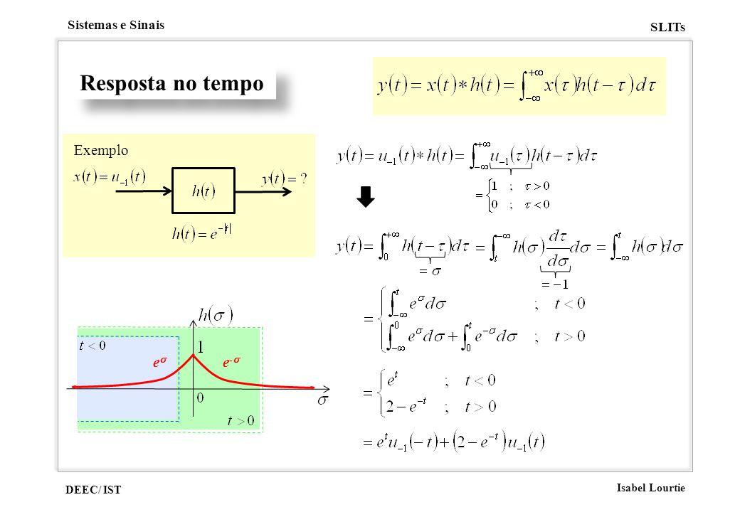 DEEC/ IST Isabel Lourtie Sistemas e Sinais SLITs Resposta no tempo Exemplo e e -