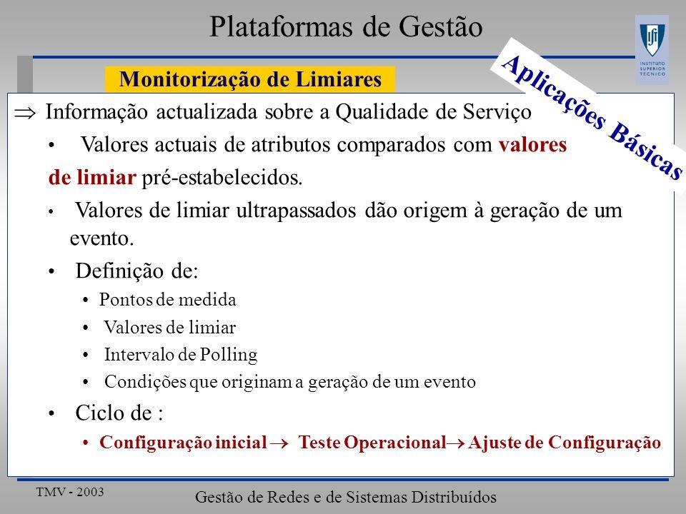 TMV - 2003 Gestão de Redes e de Sistemas Distribuídos Monitorização de Limiares Plataformas de Gestão Informação actualizada sobre a Qualidade de Serviço Valores actuais de atributos comparados com valores de limiar pré-estabelecidos.