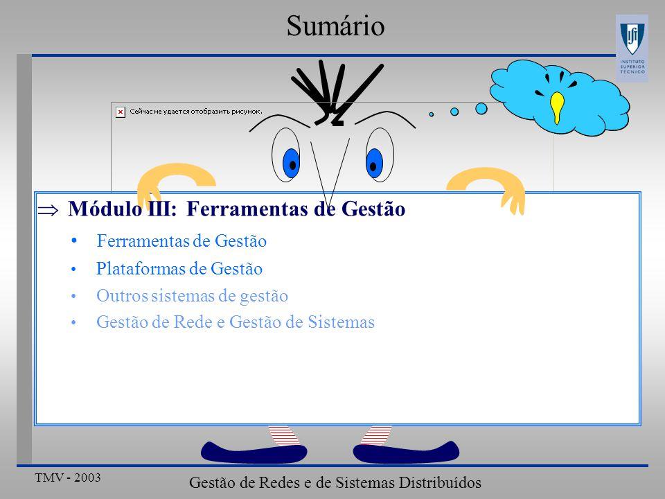 TMV - 2003 Gestão de Redes e de Sistemas Distribuídos Ferramentas de Gestão