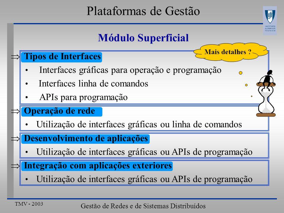 TMV - 2003 Gestão de Redes e de Sistemas Distribuídos Tipos de Interfaces Interfaces gráficas para operação e programação Interfaces linha de comandos APIs para programação Operação de rede Utilização de interfaces gráficas ou linha de comandos Desenvolvimento de aplicações Utilização de interfaces gráficas ou APIs de programação Integração com aplicações exteriores Utilização de interfaces gráficas ou APIs de programação Plataformas de Gestão Mais detalhes .