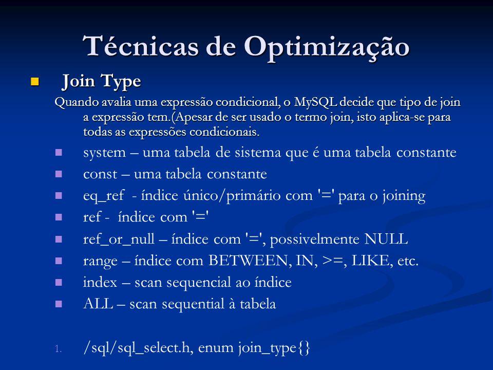Técnicas de Optimização Join Type Join Type Quando avalia uma expressão condicional, o MySQL decide que tipo de join a expressão tem.(Apesar de ser us