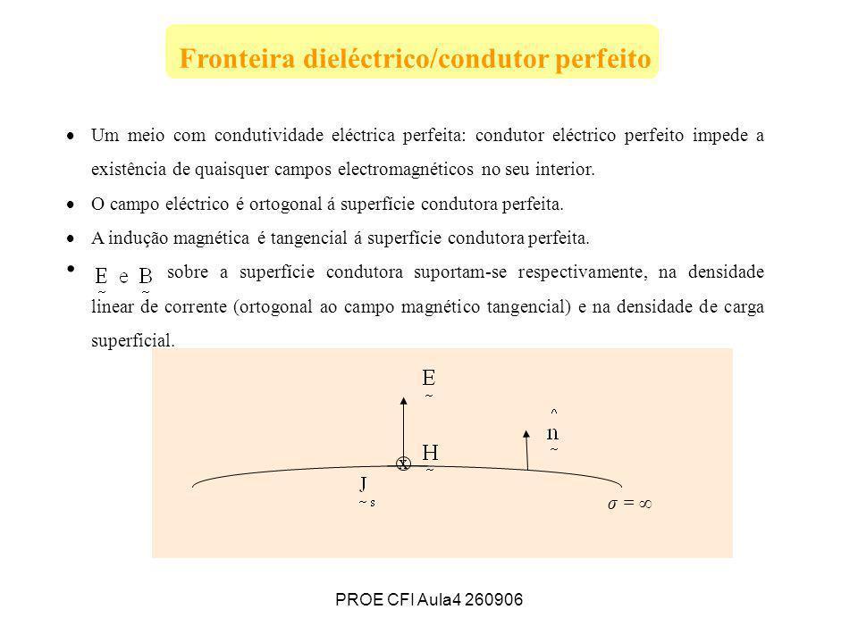 PROE CFI Aula4 260906 e Fronteira dieléctrico/condutor perfeito Um meio com condutividade eléctrica perfeita: condutor eléctrico perfeito impede a exi