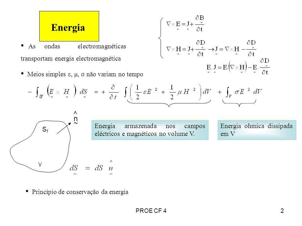2 Energia As ondas electromagnéticas transportam energia electromagnética Meios simples ε, μ, σ não variam no tempo Energia armazenada nos campos eléc