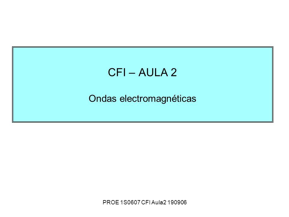 PROE 1S0607 CFI Aula2 190906 CFI – AULA 2 Ondas electromagnéticas