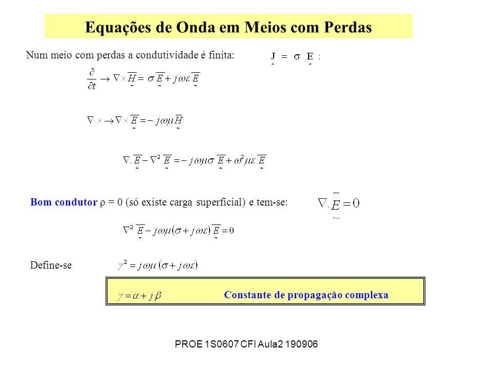 PROE 1S0607 CFI Aula2 190906 Equações de Onda em Meios com Perdas Bom condutor ρ = 0 (só existe carga superficial) e tem-se: Define-se Constante de propagação complexa Num meio com perdas a condutividade é finita: