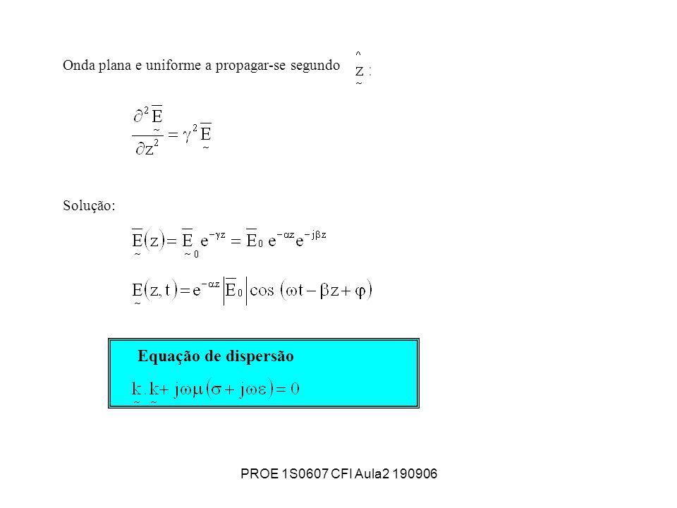 PROE 1S0607 CFI Aula2 190906 Onda plana e uniforme a propagar-se segundo Solução: Equação de dispersão