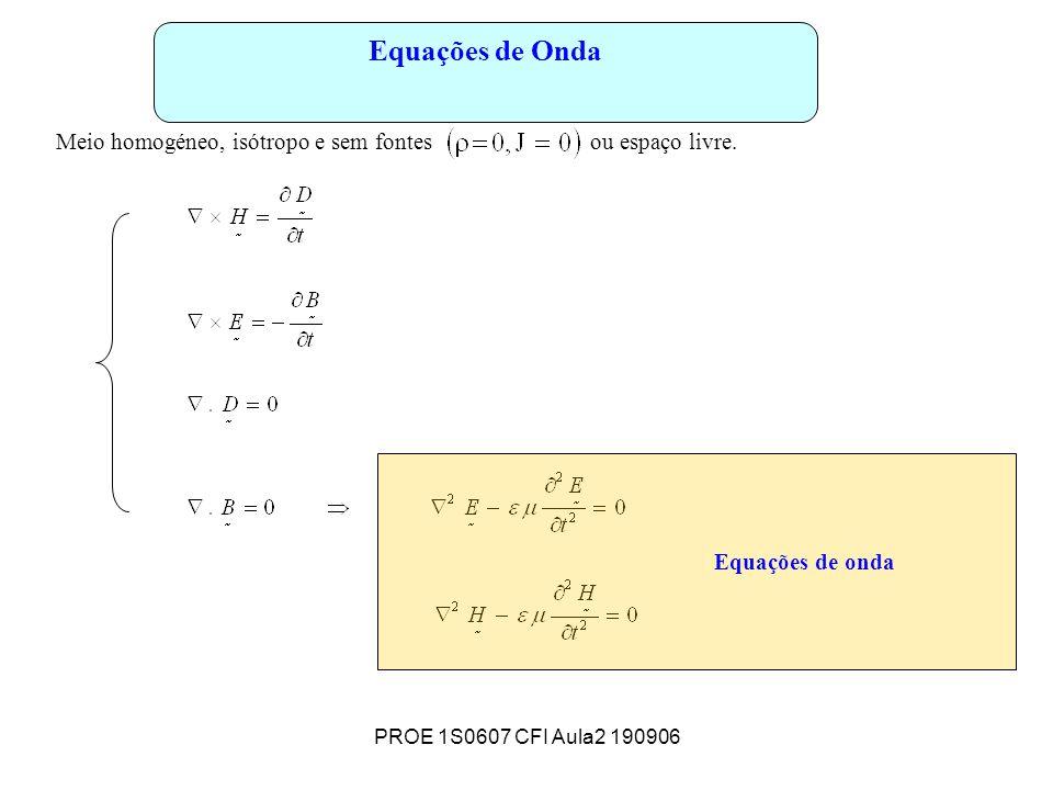PROE 1S0607 CFI Aula2 190906 Equações de Onda Meio homogéneo, isótropo e sem fontes ou espaço livre.