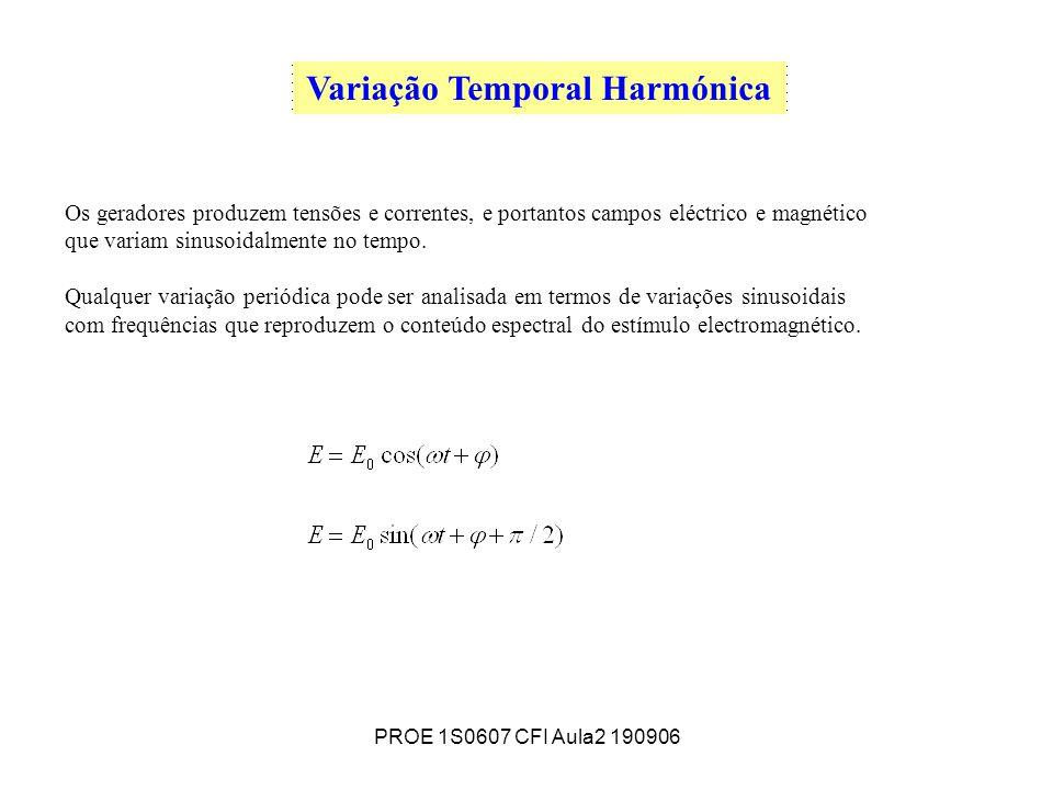 PROE 1S0607 CFI Aula2 190906 Variação Temporal Harmónica Os geradores produzem tensões e correntes, e portantos campos eléctrico e magnético que variam sinusoidalmente no tempo.