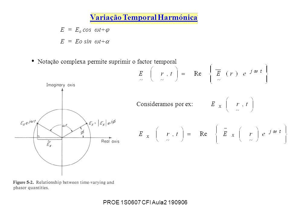 PROE 1S0607 CFI Aula2 190906 Variação Temporal Harmónica E = E o cos ωt+ E = Eo sin ωt+ Notação complexa permite suprimir o factor temporal Consideramos por ex: