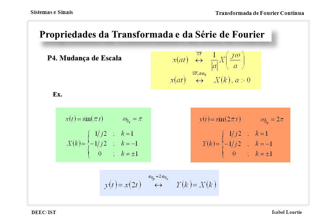 DEEC/ IST Isabel Lourtie Sistemas e Sinais Transformada de Fourier Contínua Propriedades da Transformada e da Série de Fourier P4. Mudança de EscalaP4