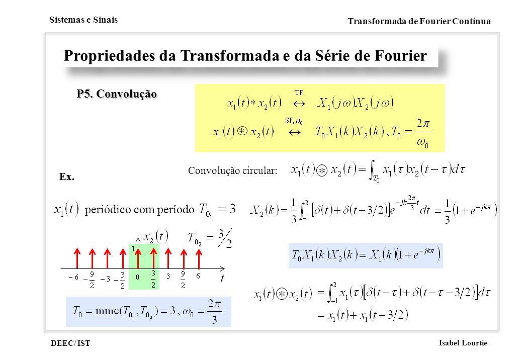DEEC/ IST Isabel Lourtie Sistemas e Sinais Transformada de Fourier Contínua Propriedades da Transformada e da Série de Fourier P5. Convolução Convoluç
