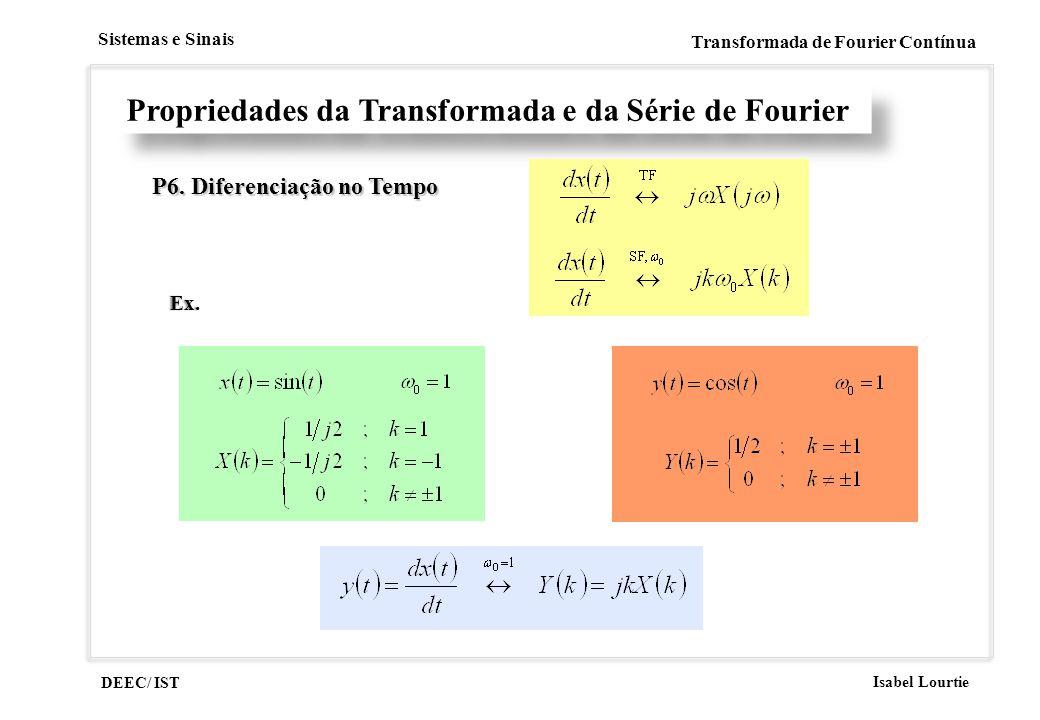 DEEC/ IST Isabel Lourtie Sistemas e Sinais Transformada de Fourier Contínua Propriedades da Transformada e da Série de Fourier P6. Diferenciação no Te