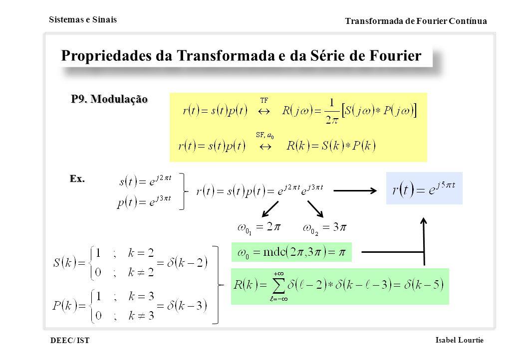 DEEC/ IST Isabel Lourtie Sistemas e Sinais Transformada de Fourier Contínua Propriedades da Transformada e da Série de Fourier P9. Modulação Ex.