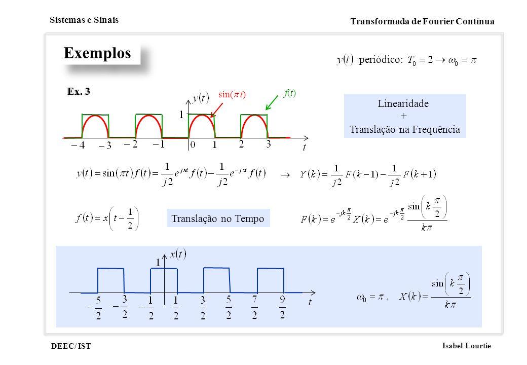 DEEC/ IST Isabel Lourtie Sistemas e Sinais Transformada de Fourier Contínua Exemplos Ex. 3Ex. 3 sin( t) f(t)f(t) periódico: Linearidade + Translação n