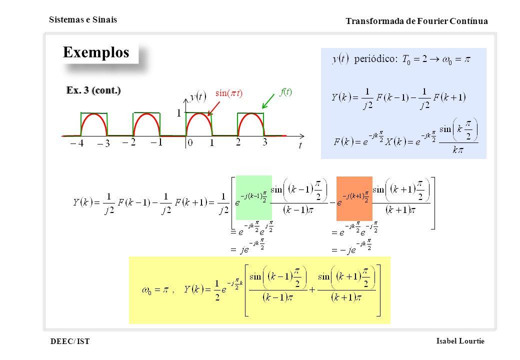 DEEC/ IST Isabel Lourtie Sistemas e Sinais Transformada de Fourier Contínua Exemplos Ex. 3 (cont.)Ex. 3 (cont.) sin( t) f(t)f(t) periódico: