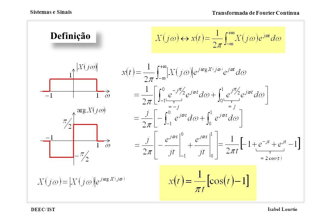 DEEC/ IST Isabel Lourtie Sistemas e Sinais Transformada de Fourier Contínua Definição